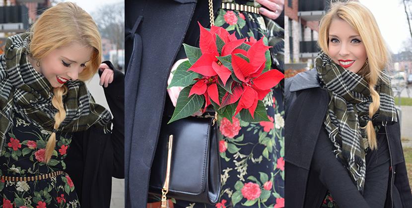 Titelbild_Blog-Belle-Melange_Fashion_Outfit_Weihnachtsstern_Blüten-Kleid-Mango_schwarz-Boots