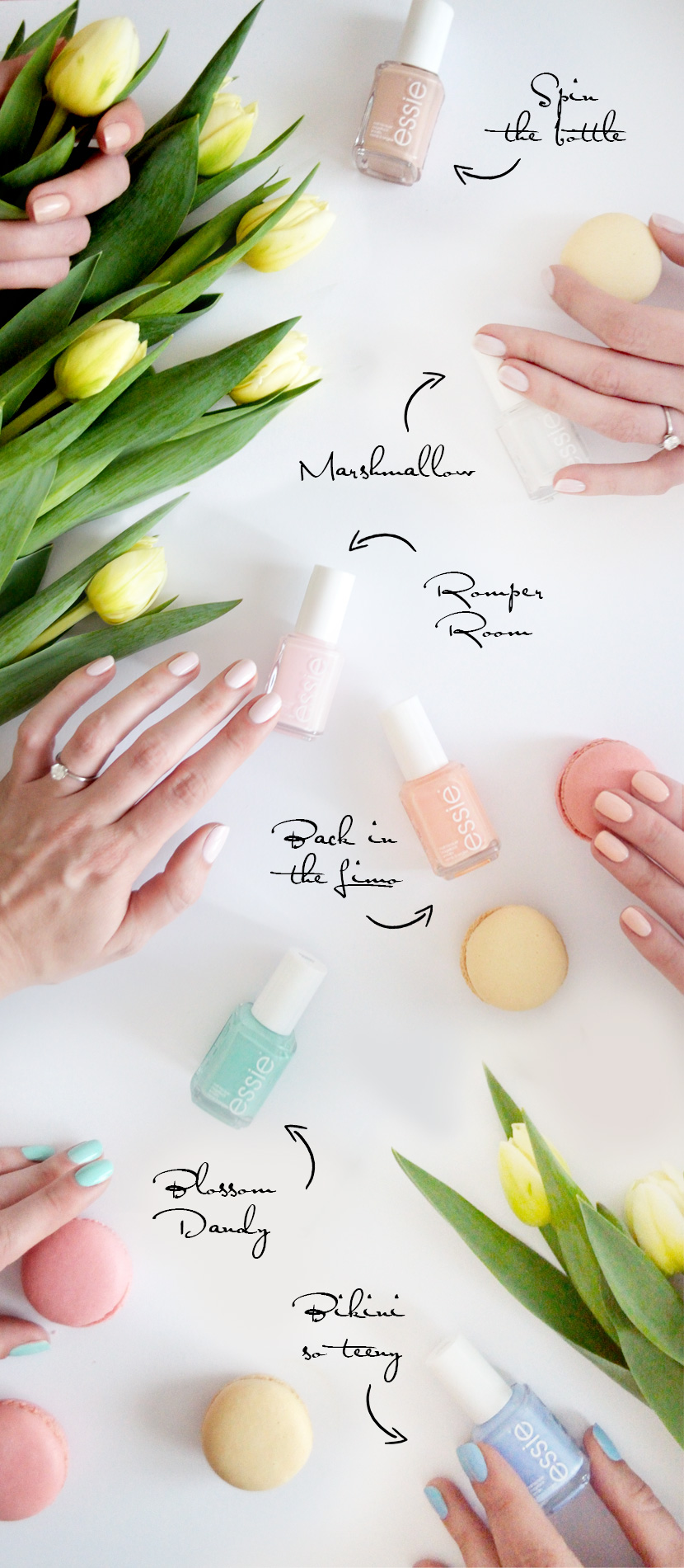 Spring-Candy-Essie_Favourites_Blog_Belle-Melange_Marshmallow_Spin-the-bottle_Blossom-Dandy_Bikini-so-teeny_Back-in-the-Limo_Romper-Room